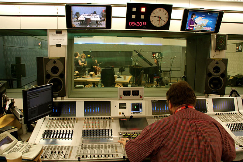 The control room of a BBC radio studio